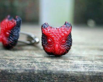 The Whoo Owl Cuff Links Cherry Red and Nocturnal Black Free Domestic Shipping