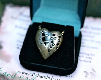 My Bloody Valentine Sutured Heart Necklace Bronze Black Spinel Free Domestic Shipping