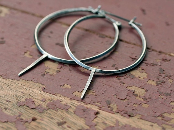 Ink and Dagger hoop earrings oxidized sterling silver