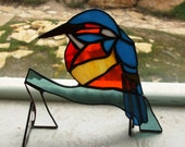 RESERVED for Laura M - Third Payment for Freestanding Stained Glass Kingfisher Centerpiece