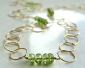 Extra Long - South Beach Necklace with Peridot Gold Filled Textured Circle Chain Luxe Summer Fashion Layering Necklace