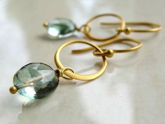 Gold Sona Earrings with Mystic Quartz Matte Gold Circles Fall Fashion