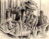 Playing the Blues on a Bass ... Funny 8X10 Guitar and fisherman Art Print Pencil Pun by Barry Singer