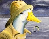Fishing Duck hates rain...8X10 cottage or kids nursery room decor