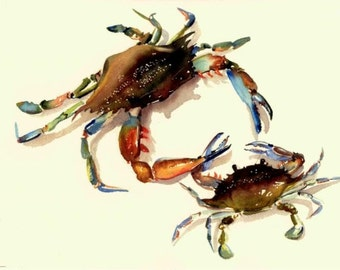 Dad and son Blue Crab Watercolor Art Print by Barry Singer 8 1/2 X 11 or 11X14 Coastal Beach Decor