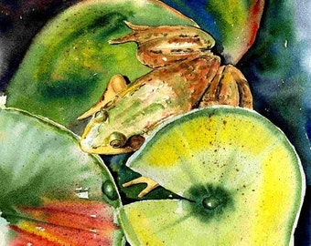 8x10 Green Frog and lily pad Best cottage Lake House decor Watercolor art print by Barry Singer