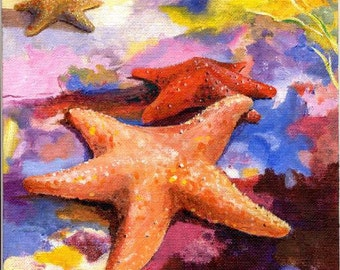 Starfish in LOVE... Colorful 8X10 Ocean Beach House Decor Acrylic Painting Quality Art print by Barry Singer