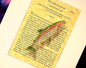 Original Painting 8X10 Country decor matted Rainbow Trout Watercolor on The Complete Angler
