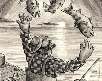 The Fisherman Juggler pencil drawing 8X10 quality Art print whimsical Illustration fishing gift by Barry Singer