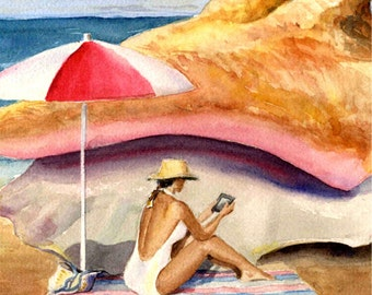 Original Watercolor Conch and Kindle Beach Decor Painting by Barry Singer