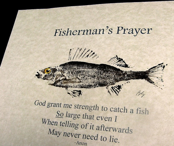 The Fisherman's Prayer with real fish rubbing on parchment
