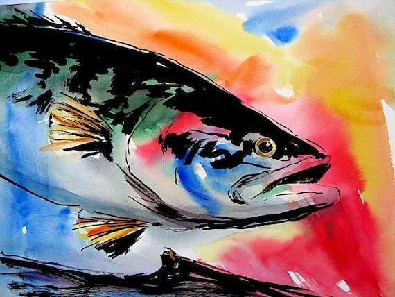 12X16 Largemouth Bass Original Watercolor Fish Art by Barry Singer