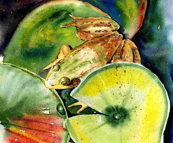 8x10 Green Frog and lily pad cottage decor watercolor art print