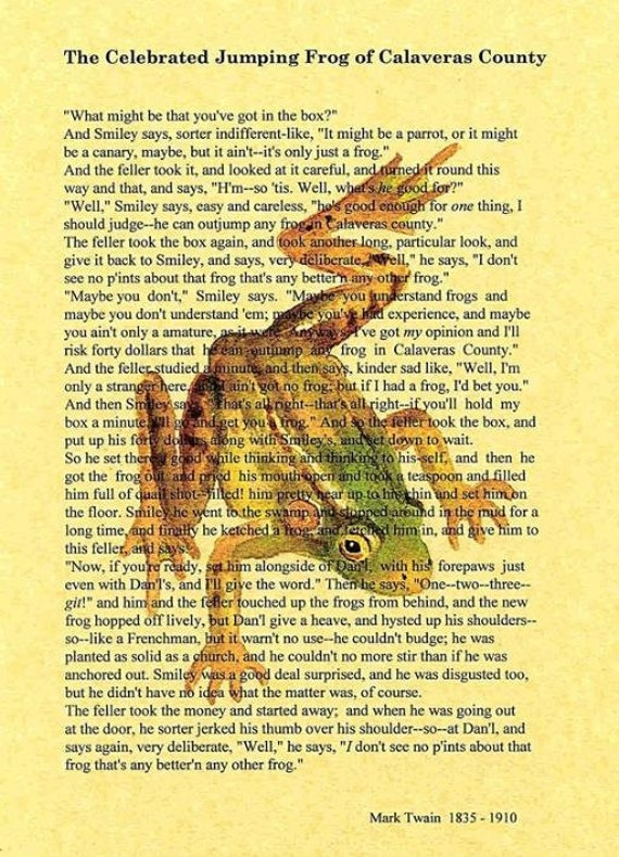 the celebrated jumping frog of calaveras The celebrated jumping frog of caleveras county analysis: sample translated sentences  the conflict in the _____ jumping frog of calaveras county revolves around the cultural gap between its two main characters the following translations, i hope, can resolve this conflict in.