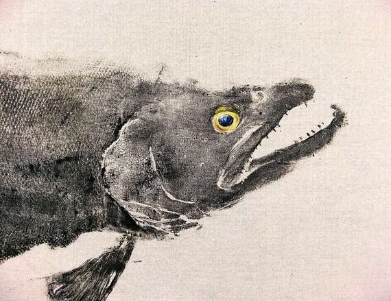 Brown Trout Original GYOTAKU Japanese Fish Rubbing Art on tan muslin... 38X28
