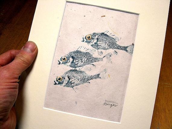 Three Handsome Bluegills matted 8X10 original GYOTAKU fish rubbings