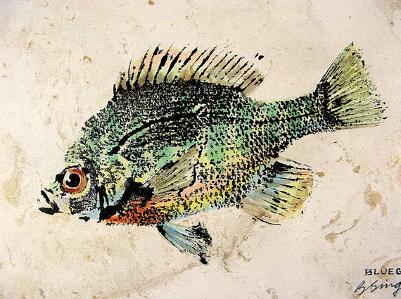 Hand colored Original Bluegill ... GYOTAKU fish Art rubbing on gold swirl paper
