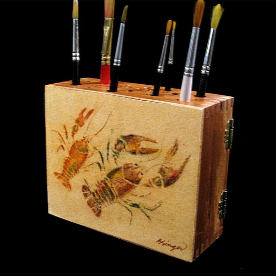Crawdad GYOTAKU brush holder for the crabby artist made from a cigar box