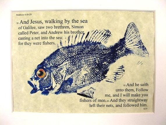 Fishers of men Bible Passage Art... 8X10 original Cottage Decor GYOTAKU Fish Art Rubbing matted