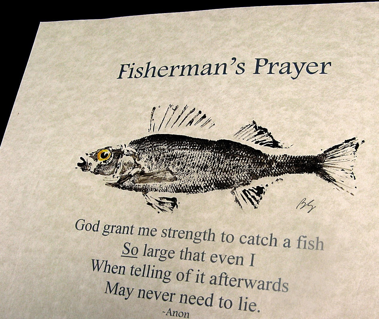 The Fisherman S Prayer With Real Gyotaku Fish Rubbing On