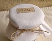 set of 6 white linen jam jar covers