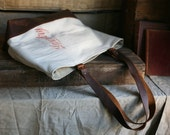 1940's Era Cotton & Canvas Leather Bottomed Carryall