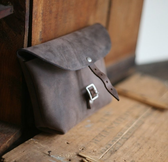 Larger Buckled Leather Utility Pouch