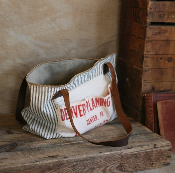 Recycled Ticking Fabric Zip-Top Carryall
