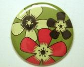 Mod Retro Flower Red, Brown, Green Pocket Mirror or KeyChain