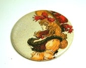 Renaissance  Lady with Red Hat Pocket Mirror or KeyChain