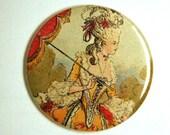 Renaissance Lady High Pompadour Pocket Mirror or KeyChain