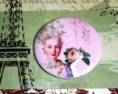 Marie Antoinette Pocket Mirror-Pink Rose with Script