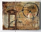 """I Am The Door Beeswax & Vintage Paper Collage  9""""x7"""" OOAK"""