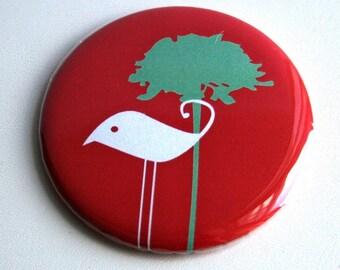 White Bird, Blue Tree, Red Pocket Mirror or KeyChain
