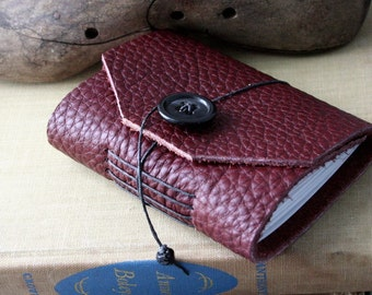 Small Handbound Leather Journal Book- Burgandy Tag Edge Upcycled