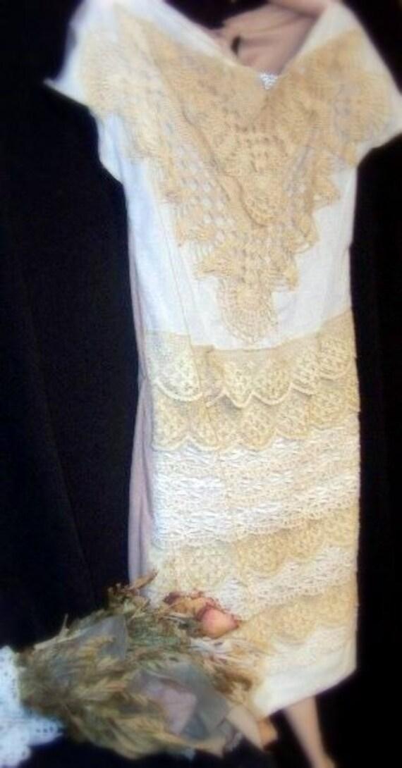 SALE Butterfly Kisses Wide neckline Vintage Lace dress or tunic