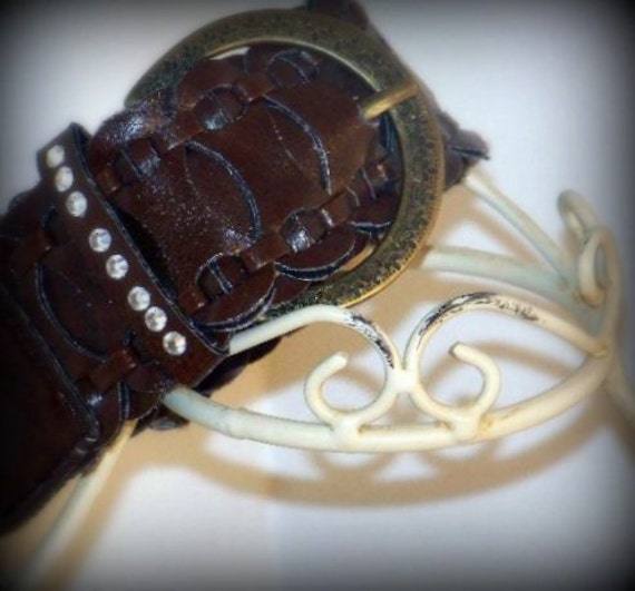 Upper Arm Cuff, PIONEER WOMAN, leather, horse shoe, crystals, tamilyn, arm bling, brown,bo ho