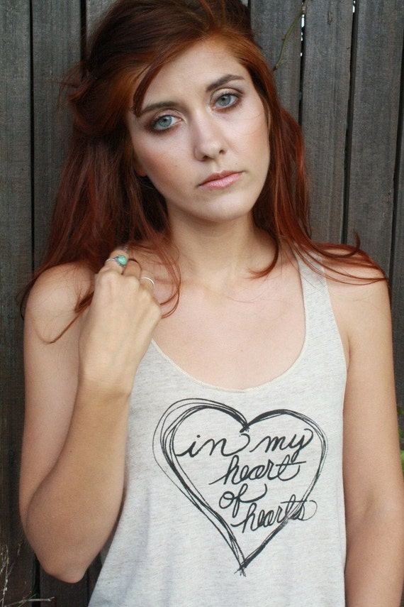 Eco-Heather Racerback Tank- (Shakespeare) IN MY HEART OF HEARTS...  Small
