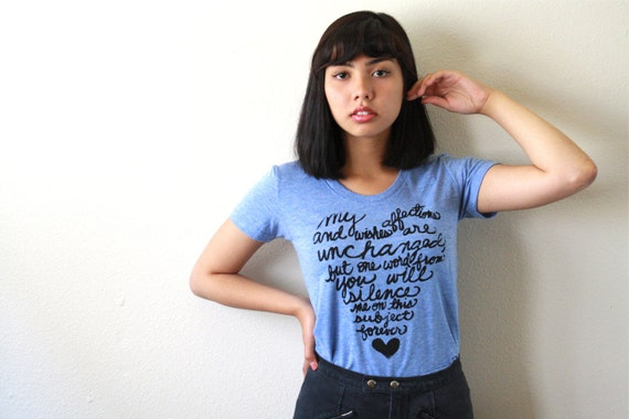 Mr. Darcy 2nd Proposal. SMALL Women's T-shirt American Apparel in Athletic Blue