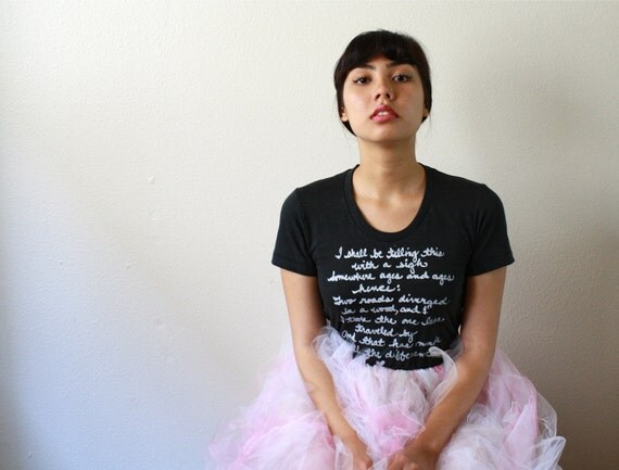 Robert Frost Poem. LARGE Women's T-shirt American Apparel in Black- The Road Not Taken