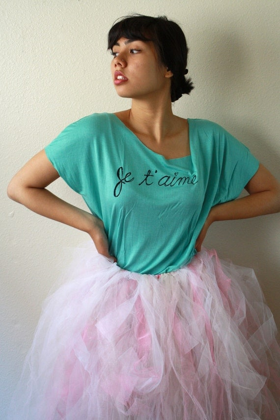 "French Quote ""Je T'aime. LRG/XL Neena Creates Original Slouchy Shirt in Turquoise"