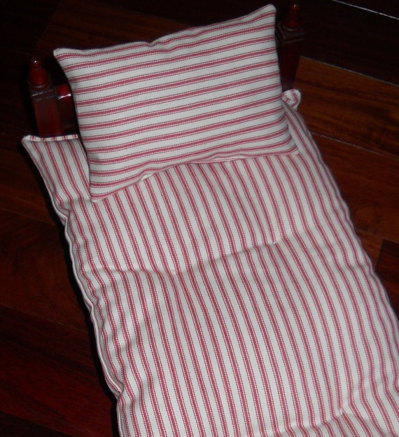 CUSTOM Sized Ticking Fabric Mattress and PIllow Vintage look