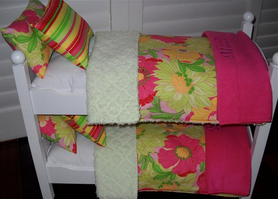 Pretty Bright Floral Cotton and Chenille  Bunk Bed Bedding for any American Girl Doll Bed, Bunk, Trundle Triple Available