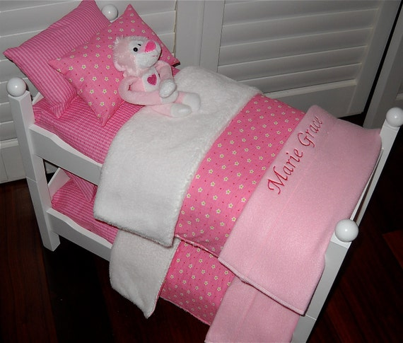 Personalized Pretty in Pink  Bunk Bed Bedding Set for any American Girl Doll Bed, Bunk, Trundle Triple Available