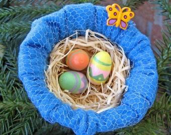Bird Nest Easter Basket, Mini Nest Ornament, Easter Decor, Easter Tree Ornament, Blue Nest, Spring Decor