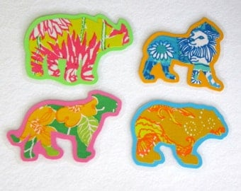 Animal Magnets, Animal Fabric Magnets, Laminated Magnets, Kitchen Magnets, Wild Magnets