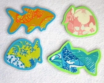 Fish Magnets, Fish Shaped Magnets, Fabric Magnets, Tropical Colors Magnets