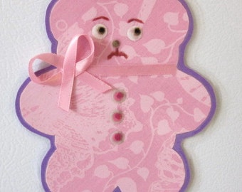 Pink Teddy Bear Magnet, Bear Magnet, Animal Magnet, Fabric Magnet, Kitchen Magnet