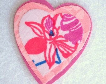 Pink Fabric Heart Pin, Floral Heart Brooch, Orchid Pin, Fabric Art Brooch