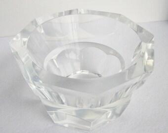 Vintage Lucite Octagonal Bowl, Lucite Candy Bowl, Mid Century Decor, Geometric Bowl, Art Deco Bowl